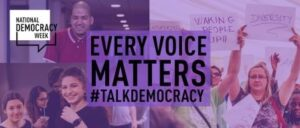 "Purple banner with pictures of voters from different backgrounds and slogan ""Every Voice Matters"""